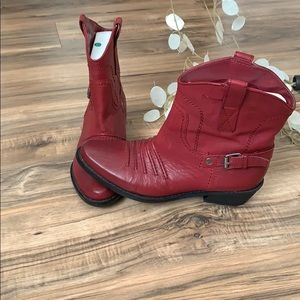 Franco Sarto Red Short Cowboy Boots